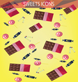 Abstract sweets icons set with candies chocolate vector image