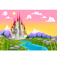 Fantasy mountain landscape with medieval castle vector image