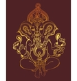 hindu lord ganesha ornate gold sketch drawing vector image