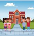 kids in the school cartoon vector image