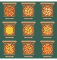 Pizzas in the opened cardboard boxes vector image