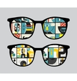 Retro sunglasses with strange reflection in it vector image