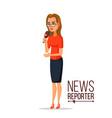 tv correspondent journalist woman tv vector image