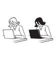 Woman behind laptop vector image