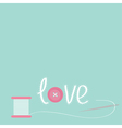 Needle and spool of thread with button applique vector image