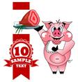 Cartoon cheerful pig with ham vector image