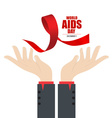 Stop AIDS Hand with ribbon vector image