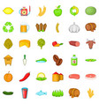 agriculture working icons set cartoon style vector image
