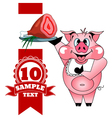 Cartoon cheerful pig with ham vector image