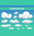 set of pixel clouds on blue background vector image