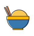 traditional bowl of rice with chopsticks icon vector image