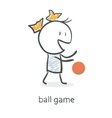 Cartoon girl playing ball vector image