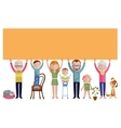 Family With Banner Flat Design vector image
