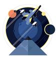 Spacecraft spaceship in space vector image
