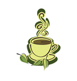 Cup of hot herbal tea and leaves vector image
