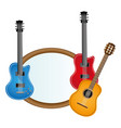 colorful silhouette with guitars set electric and vector image