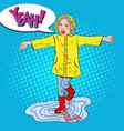 happy girl running in puddles after spring rain vector image