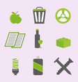 recycling nature icons waste sorting environment vector image