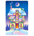 Fairy tale house under the moonlight vector image