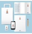 branding template with lighthouse logo vector image vector image