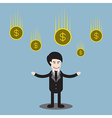 businessman standing and money coins falling vector image