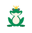Green frog in crown vector image