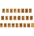 Wooden alphabet with ancient Old Norse runes vector image