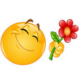 emoticon giving flower vector image