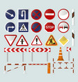 road barriers and signs vector image