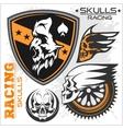 Skulls and car racing symbols vector image