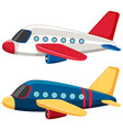 two airplanes with blue and white colors vector image