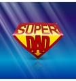 Super dad shield on blue background vector image