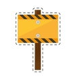 sign road rectangle caution yellow empty cut line vector image