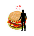 lover fast food man and hamburger embrace guy and vector image