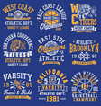 Athletic themed graphics emblems and layout set vector image vector image