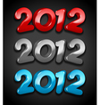 happy new year 2012 3d message vector image vector image