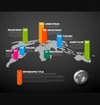 Dark world map infographic template vector image