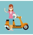 fun woman glasses and motorcycle helmet vector image