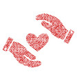 love heart care hands fabric textured icon vector image