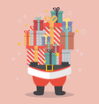 Santa Claus holding a pile of gift boxes vector image