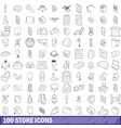 100 store icons set outline style vector image