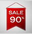 red pennant with inscription sale ninety percent vector image