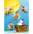 Bees watching the snowman riding on a sleigh vector image