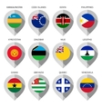Marker from paper with flag for map - set sixteen vector image vector image