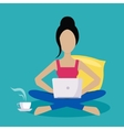 Girl Sitting At Home Working Freelance vector image