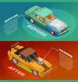 car tuning 2 isometric banners set vector image