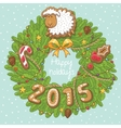 Green Christmas wreath with sheep cookies stars vector image