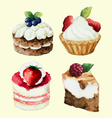 Hand painted watercolor set of sweet cupcakes vector image