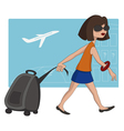 Travel girl at the airport vector image
