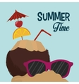 summer time coconut cocktail sunglasses sand vector image